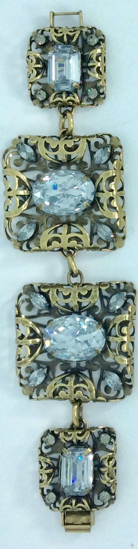 Italian Bronze filigree work with large crystal pieces bracelet