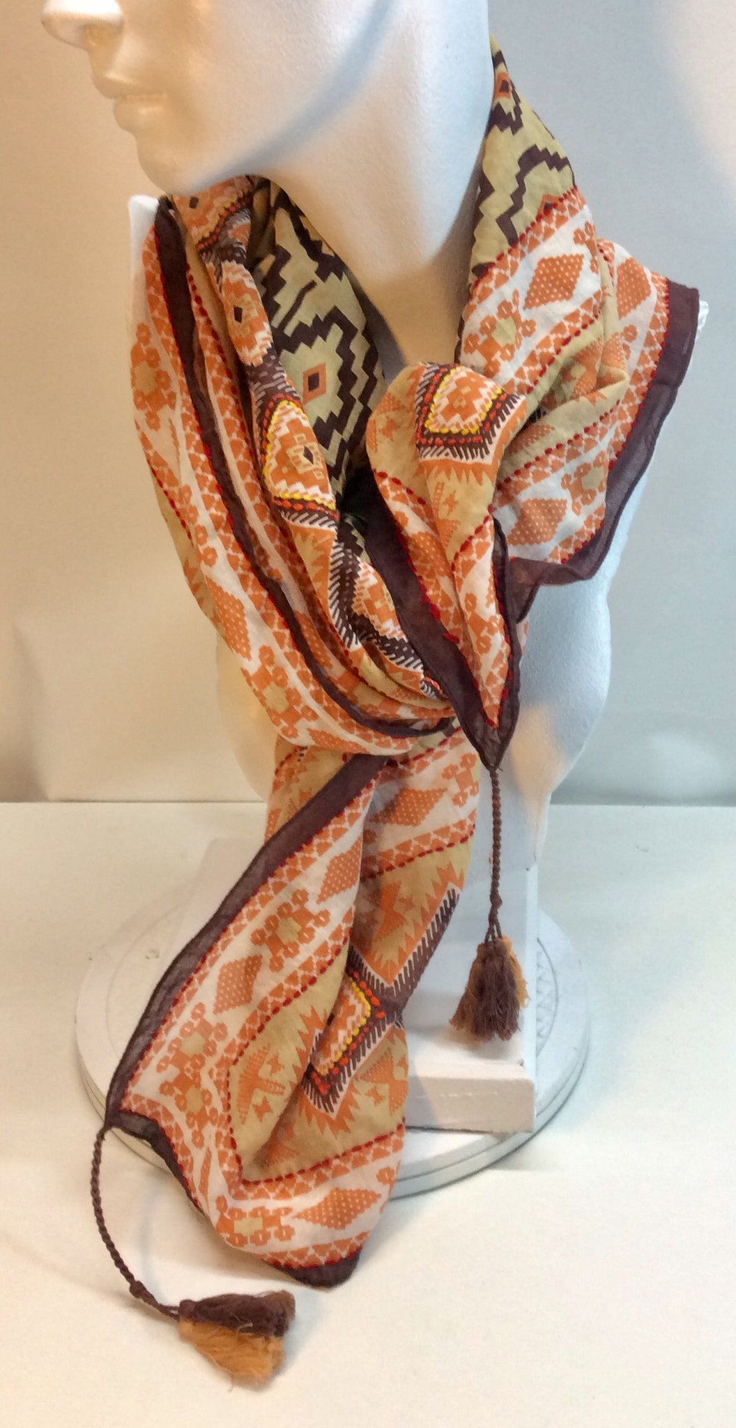 Brown and orange patterned cotton scarf