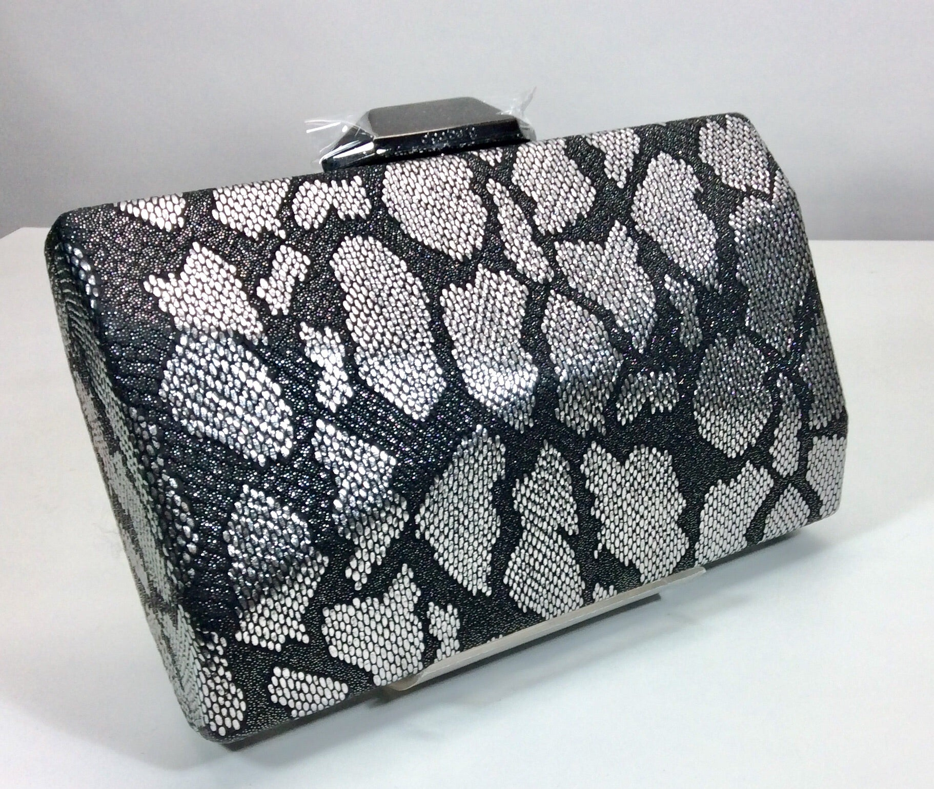 Silver and black snakeskin pattern evening bag