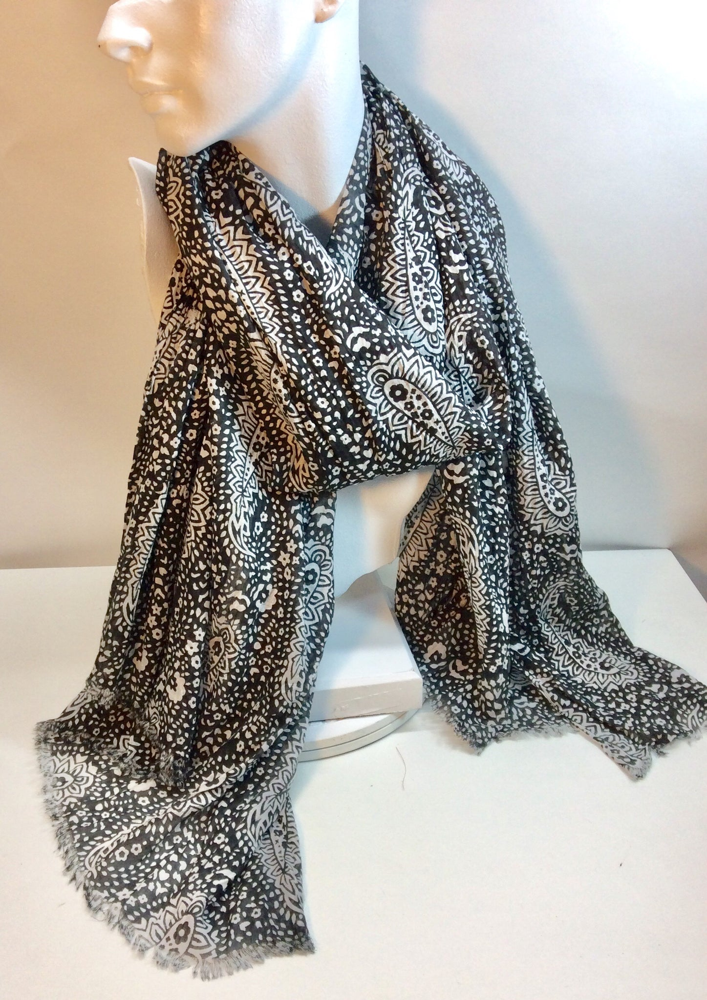 Black and white paisley cotton scarf