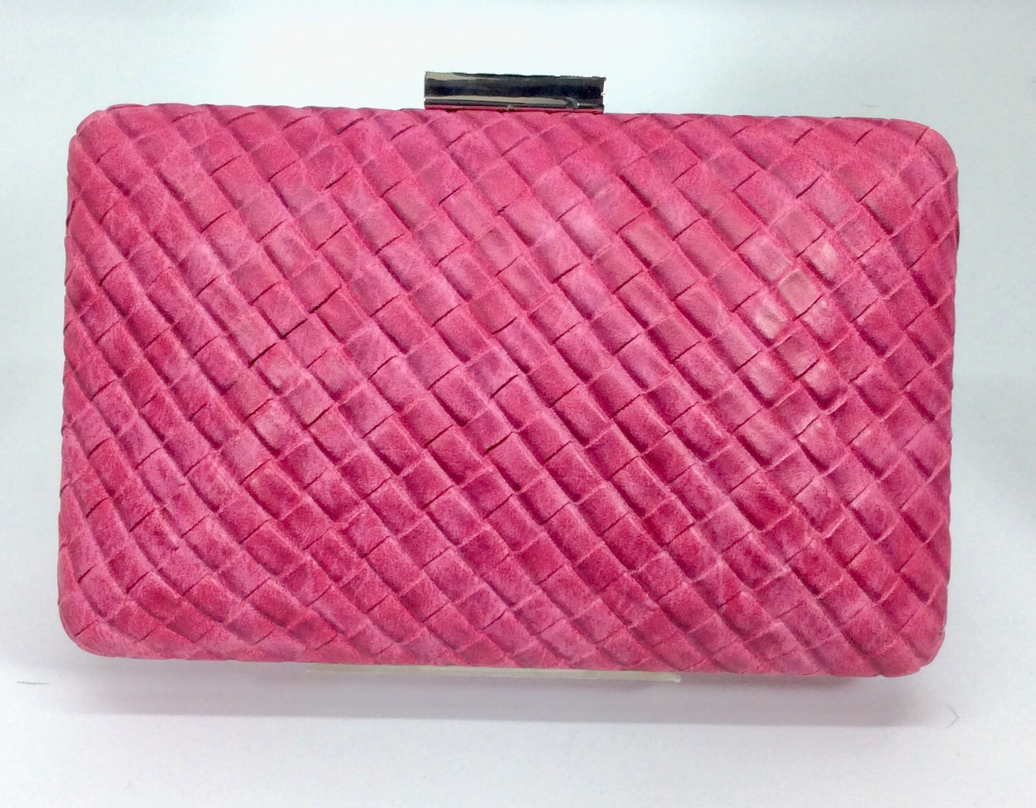 Hot pink plaited design clutch with silver chain