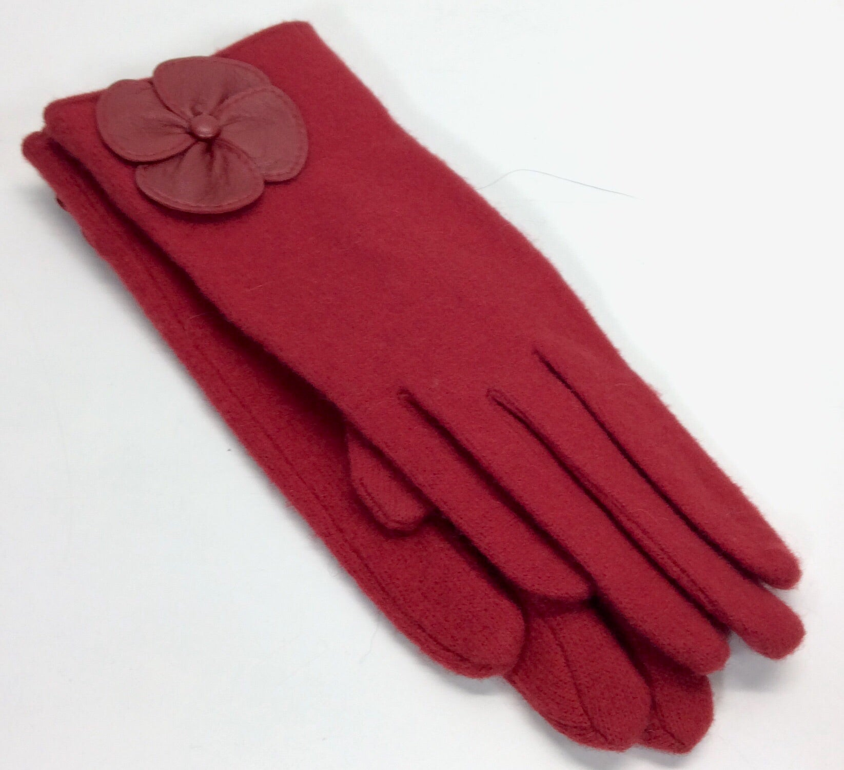 London red woollen gloves with floral detail