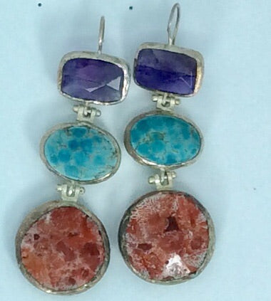 semi precious amethyst turquoise mountain coral ethnic silver setting hook earring