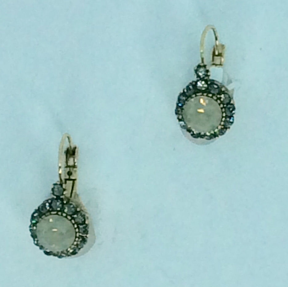 French White Opal and Grey crystal and gold surrounds earrings