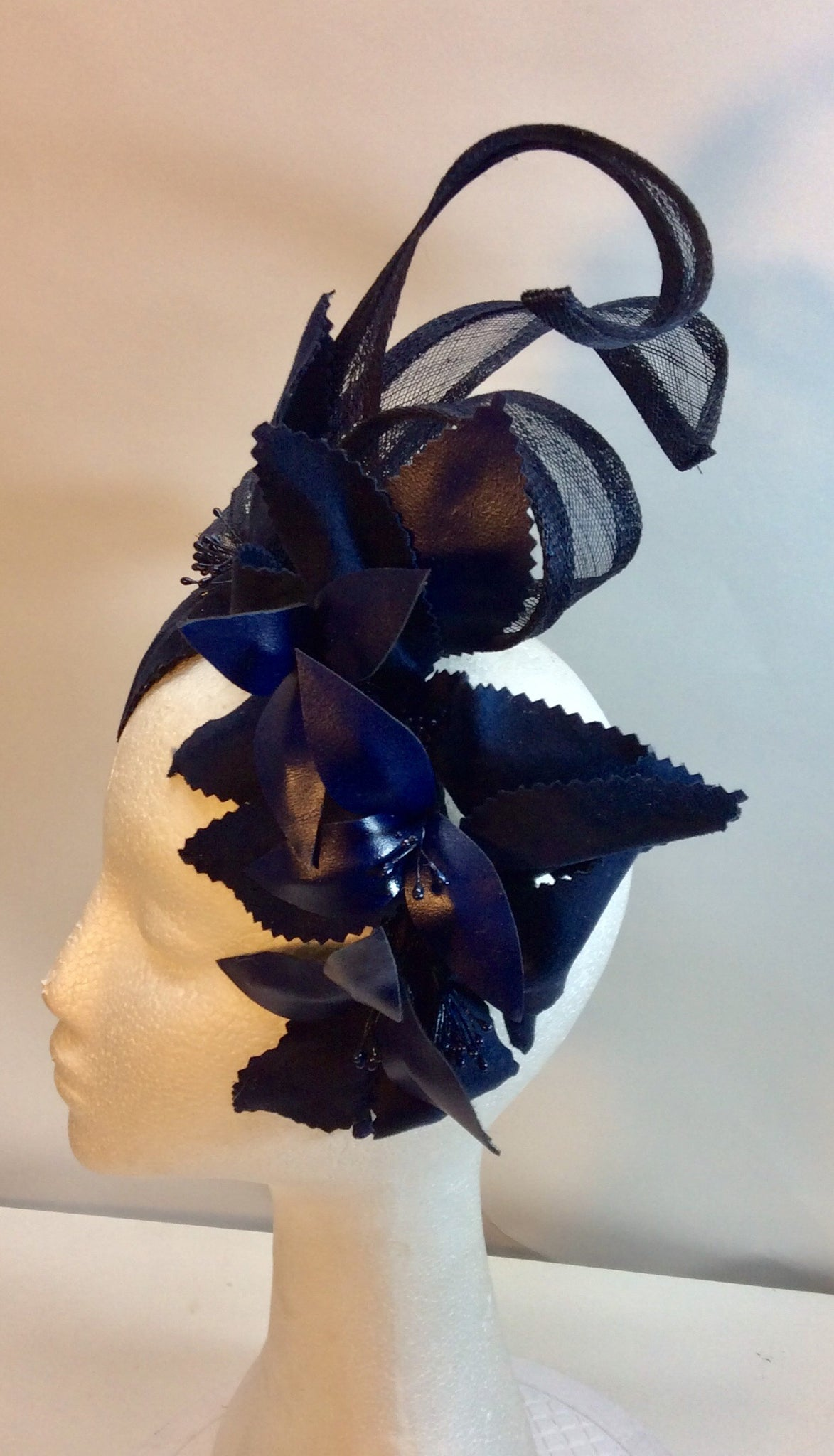 Navy twist and floral fascinator