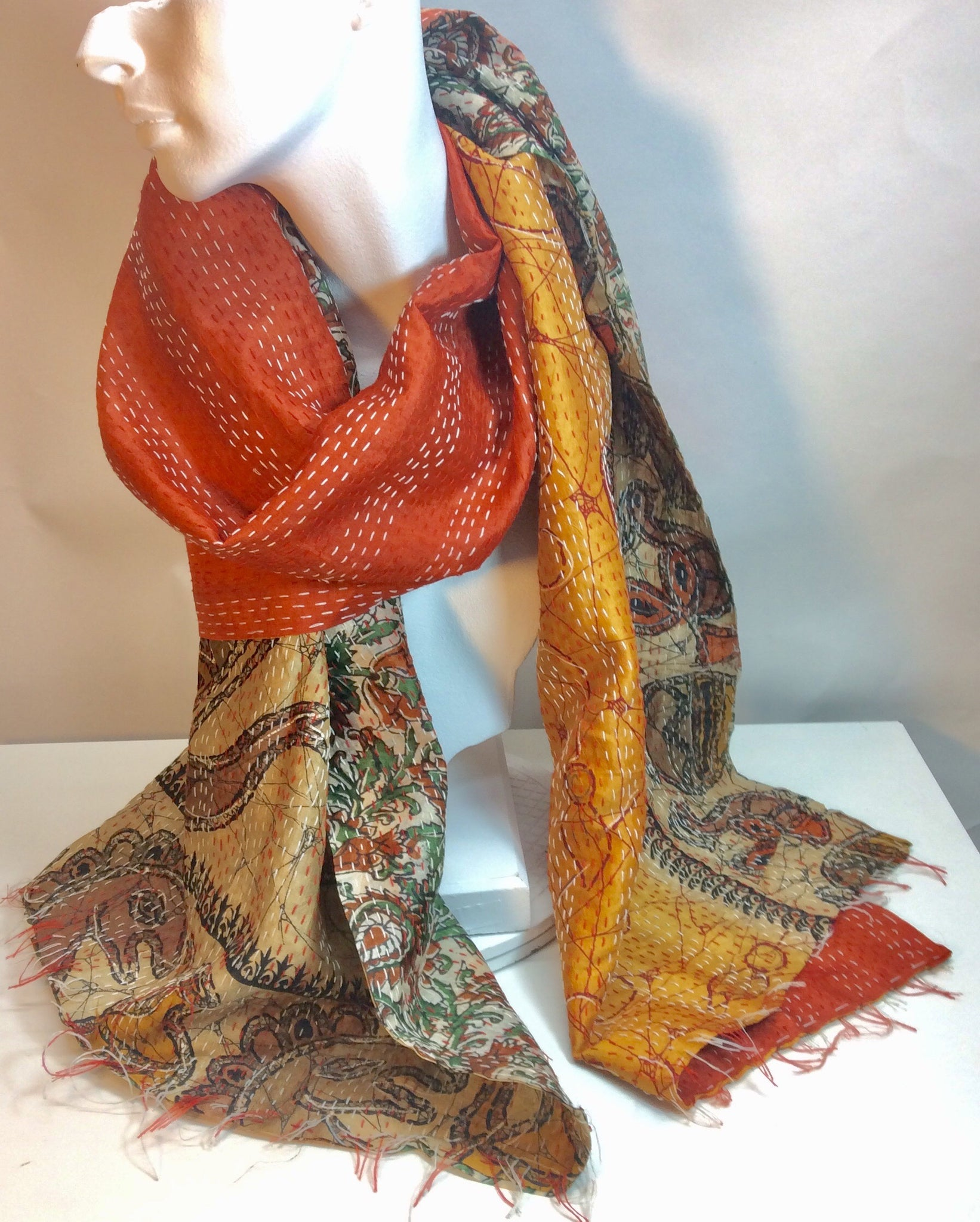 Hand stitched reversable silk scarf