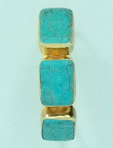 Turquoise  coloured stones set in gold 14ct plate bracelet