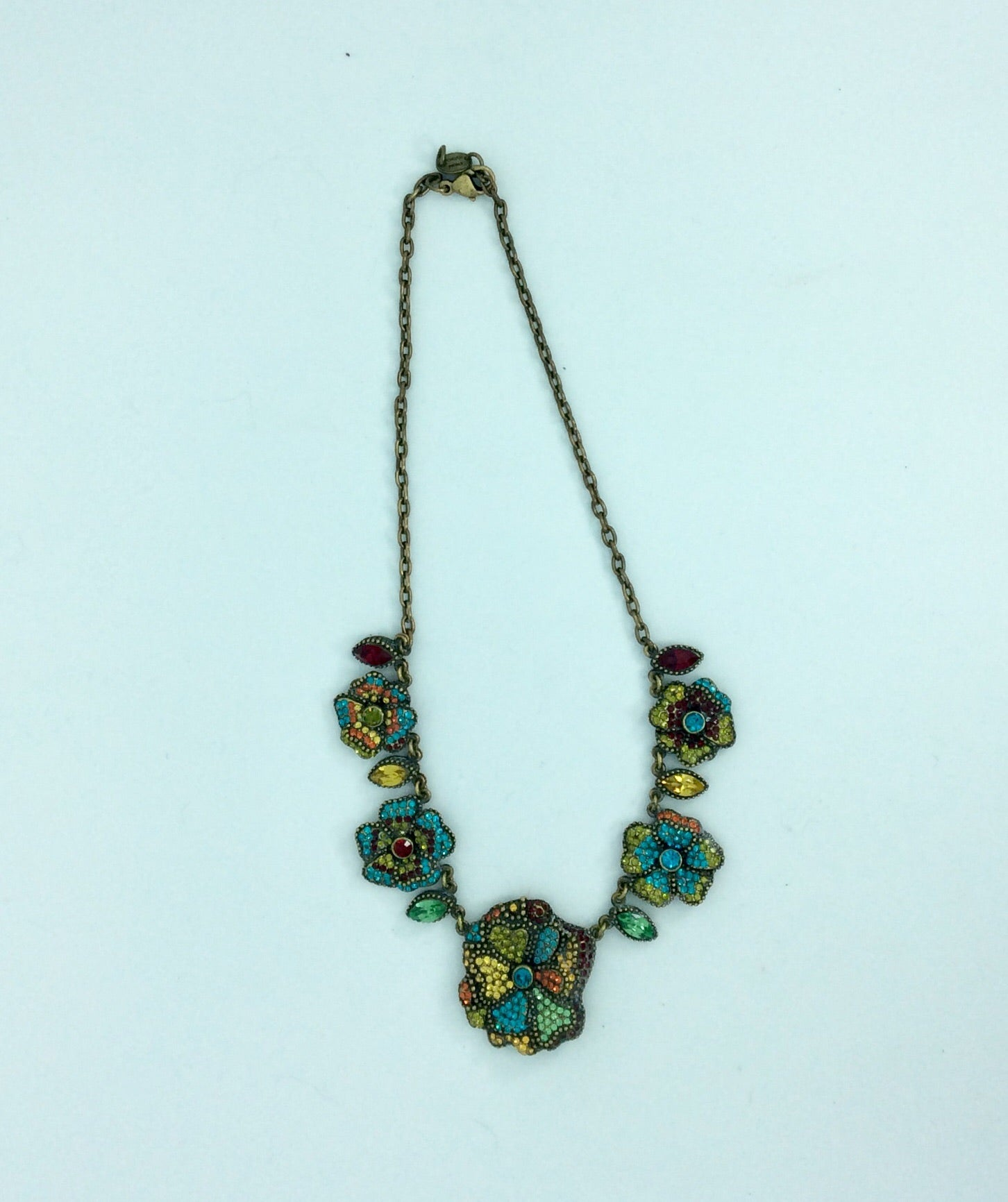 Elaborate French crystal  Pansy necklace
