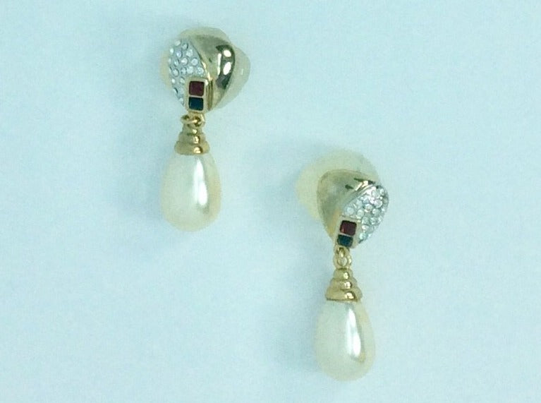 Gold and diamanté with pearl drop earrings