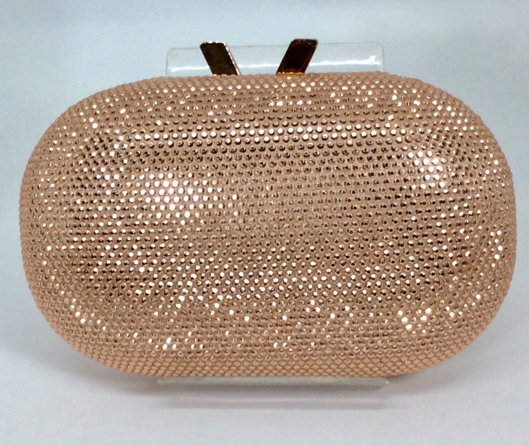Sparkling rose gold clutch bag with rose gold chain