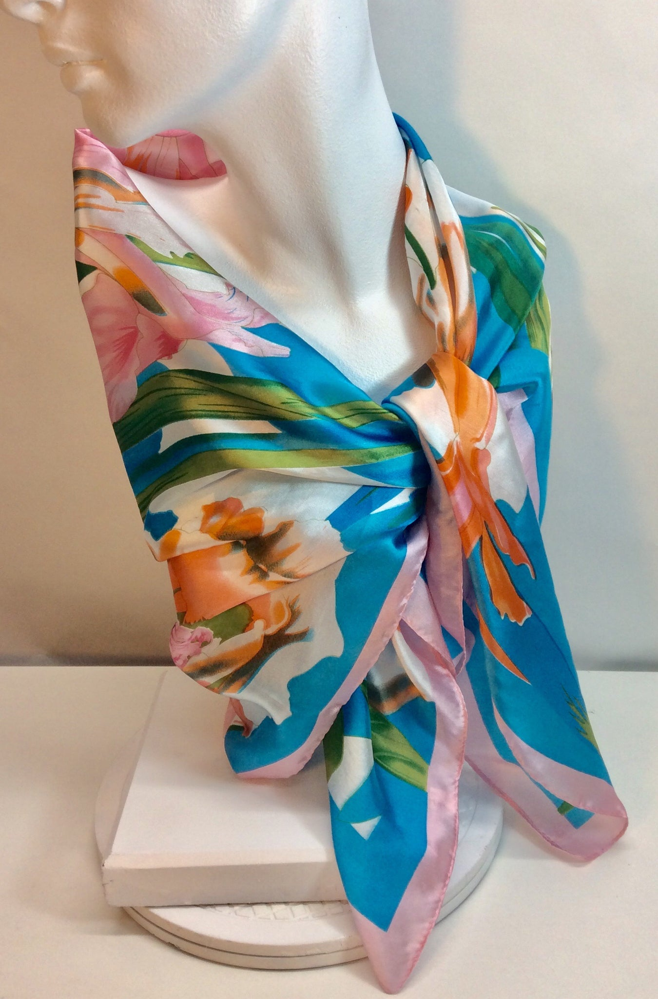 Beautiful floral French square silk scarf with blues pink and orange