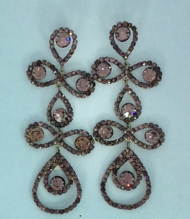 French Long mauve sparkling crystal pierced earrings