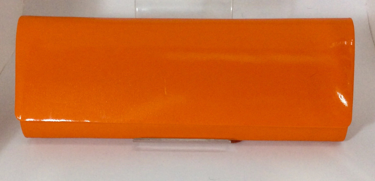 Long bright orange clutch bag