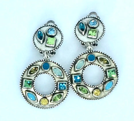 French design silver and multi stone circular clip on earrings
