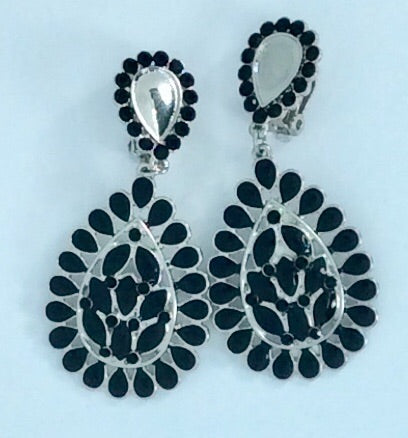 Black enamel and silver clip on earrings