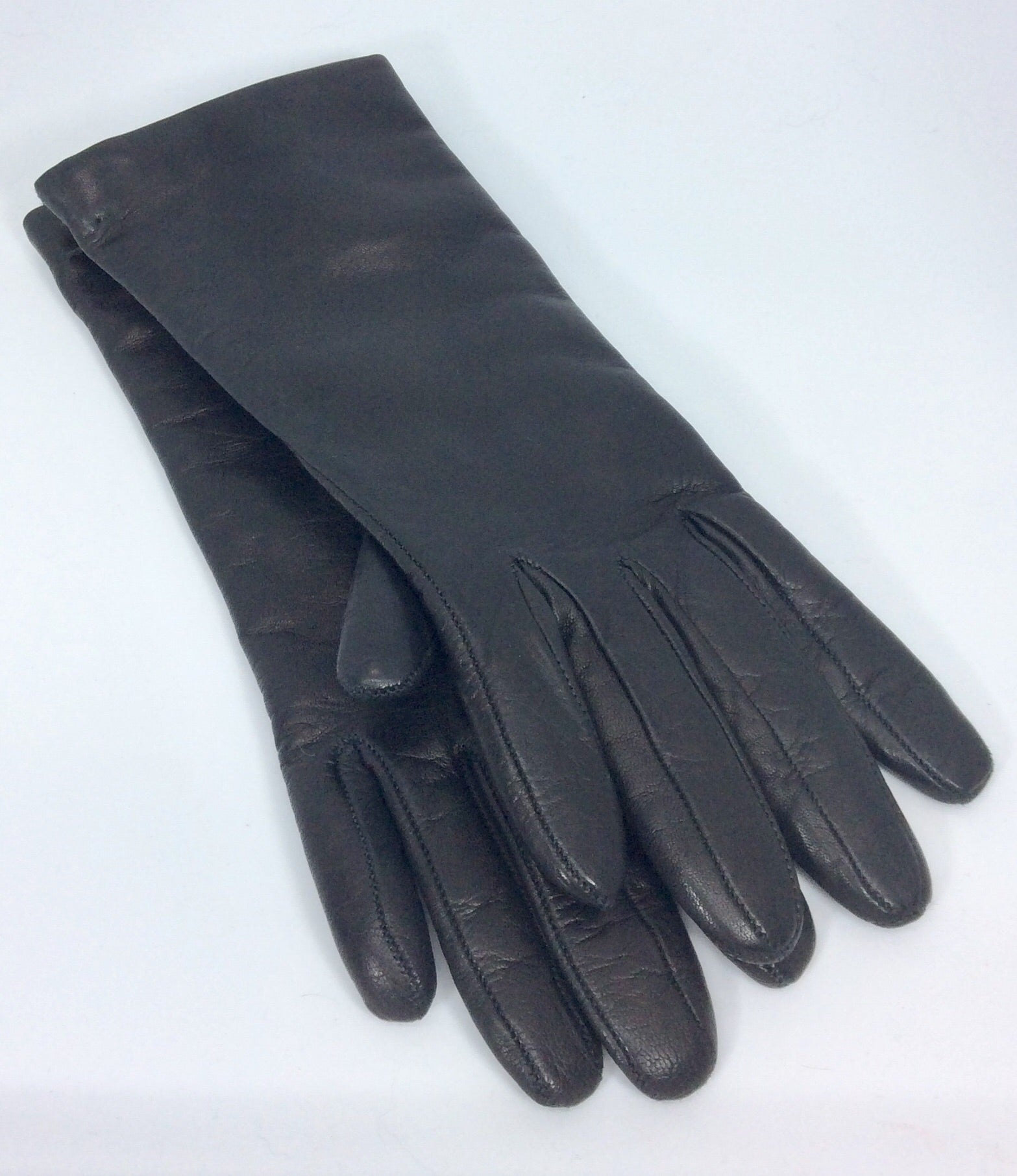 Italian black leather gloves with 100%wool lining