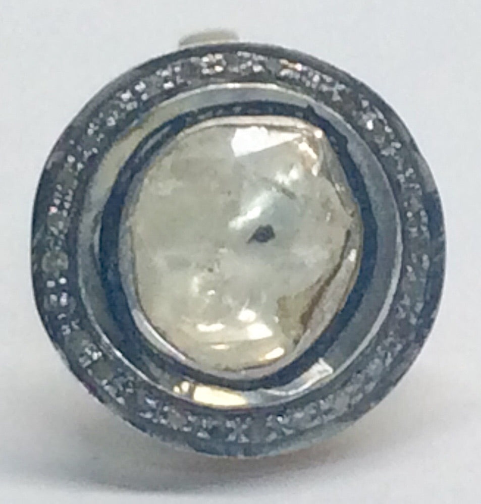 Round silver uncut Indian diamond
