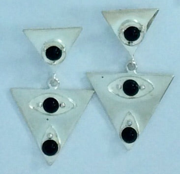 Triangular silver plated with black stone detail earrings