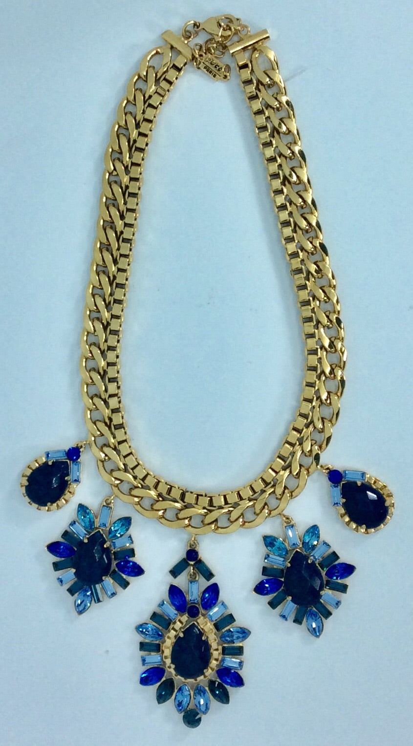 Shades of blue crystal and gold plated necklace setting and chain