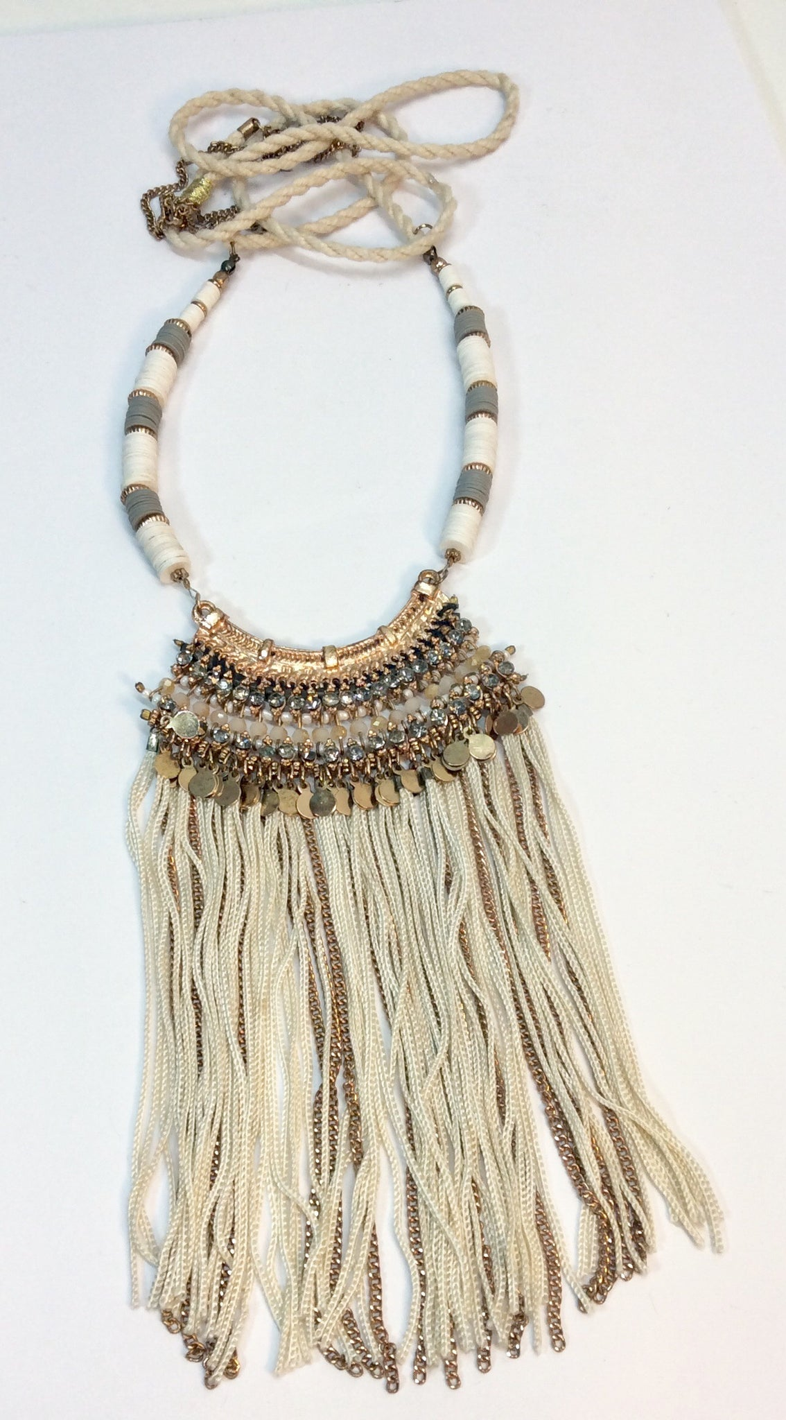 Oriental inspired long sequin and beaded necklace with tassels