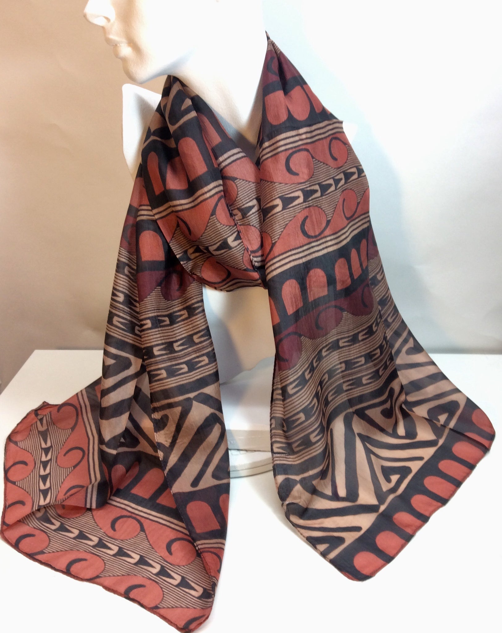 Burnt orange and black silk scarf