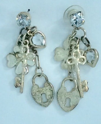 4 charm key and lock silver plated and crystal earrings