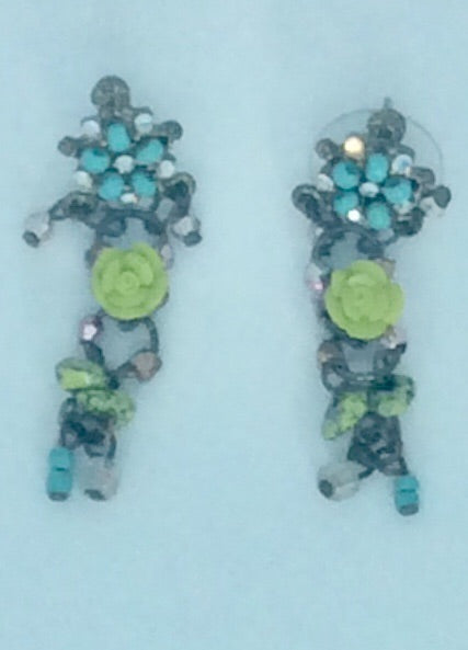 Antique flower multi drop earrings
