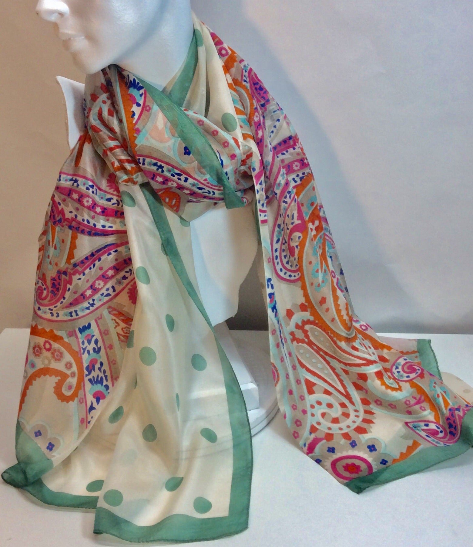 Gorgeous French design multi coloured silk scarf