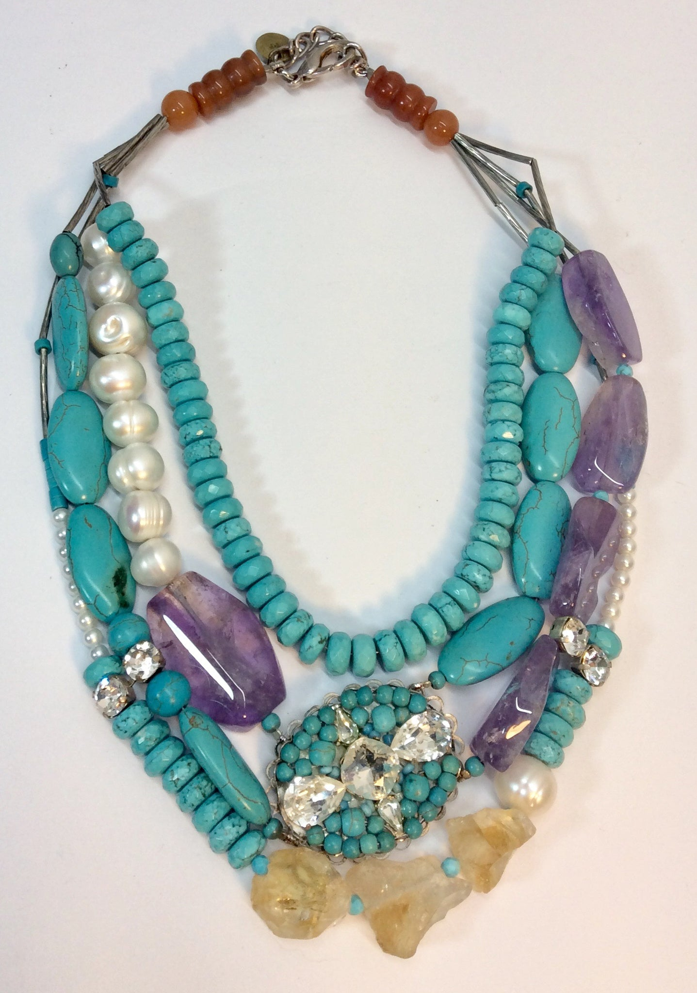 Turquoise amethyst pearl and crystal multi strand necklace