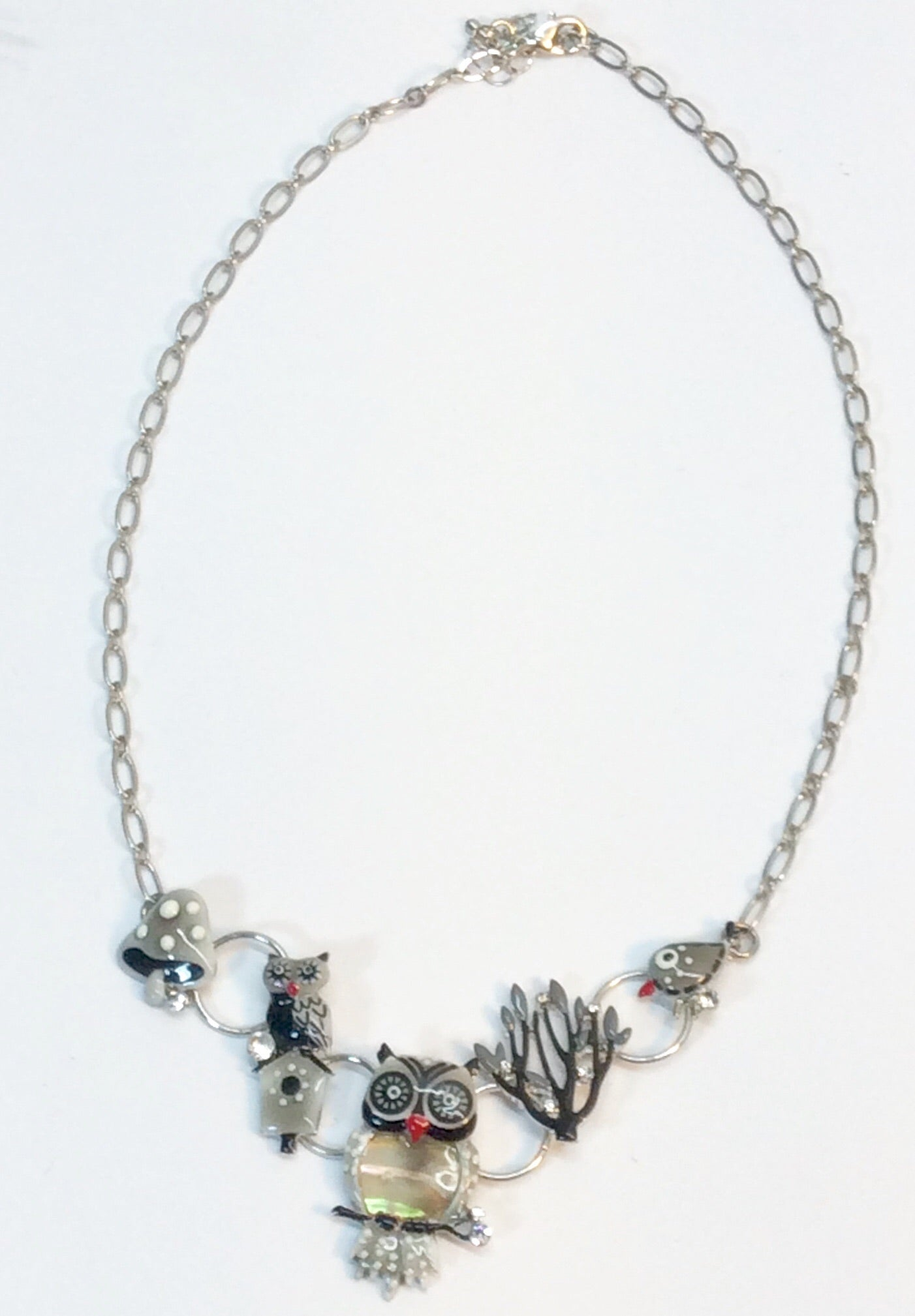 Charming owl and pussycat necklace