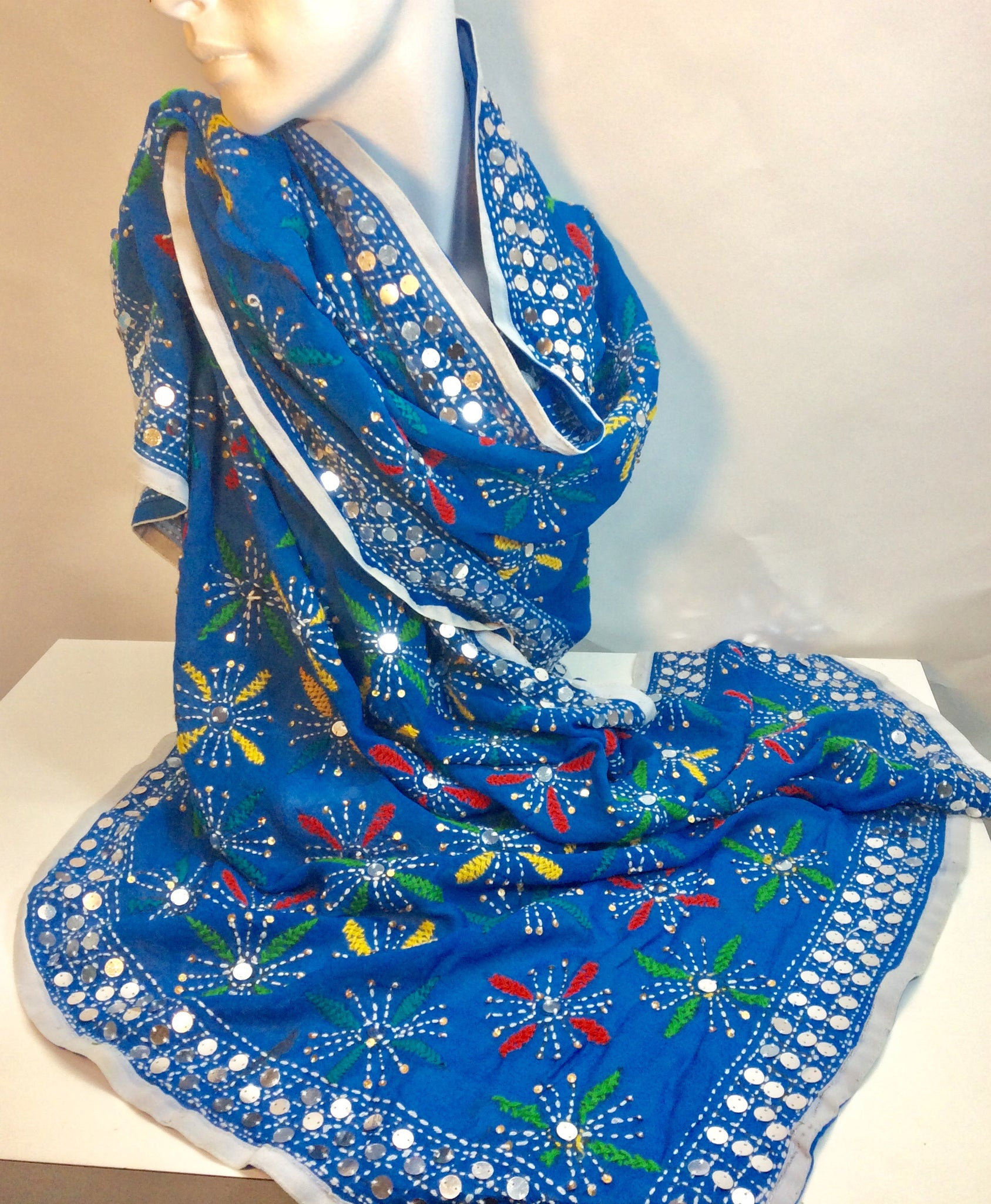 Gorgeous vibrant blue embroidered and sequinned Indian silk wrap scarf
