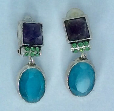 Gorgeous French blue and amethyst crystal silver clip on earrings