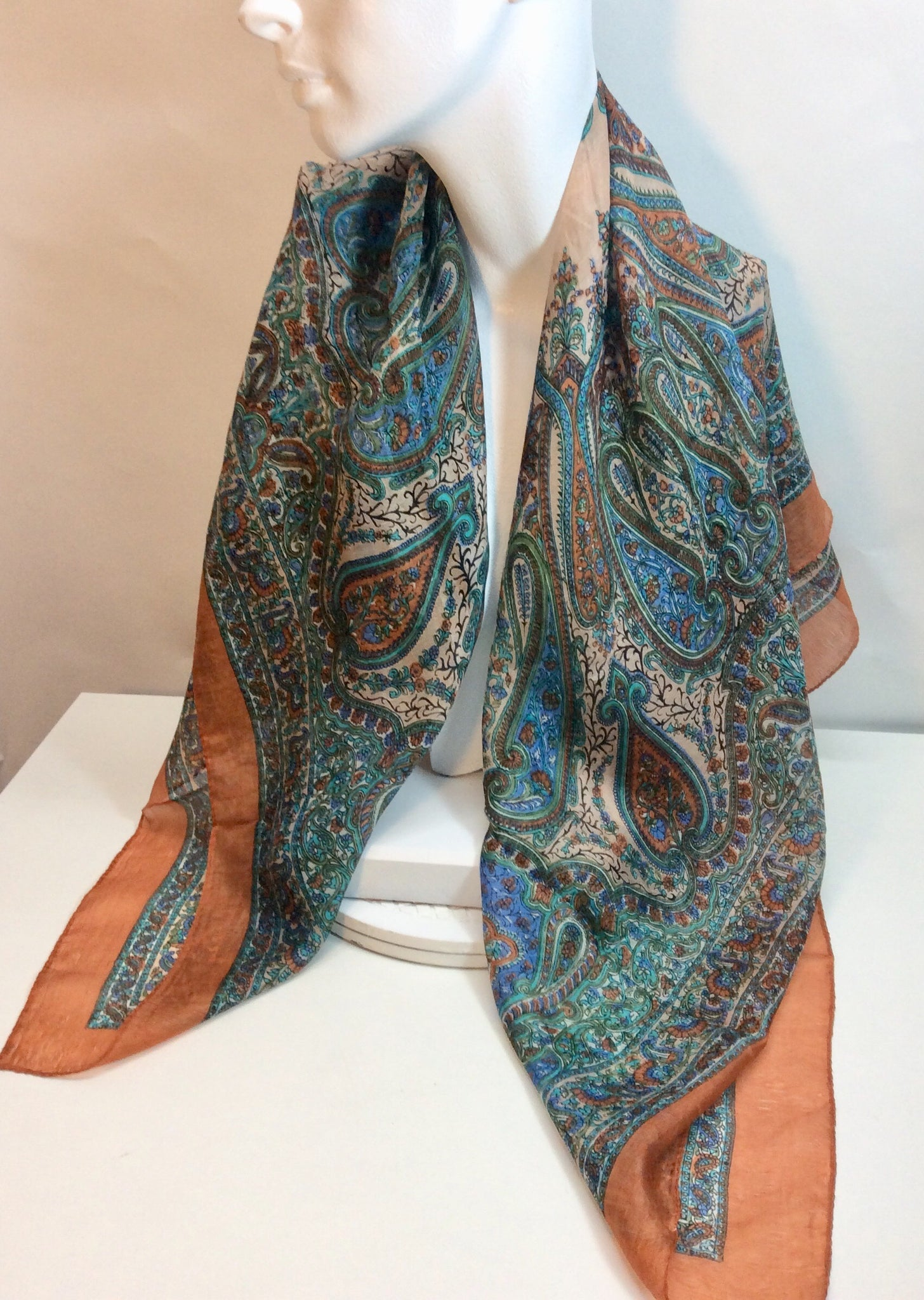 Paisley blue and tan silk scarf