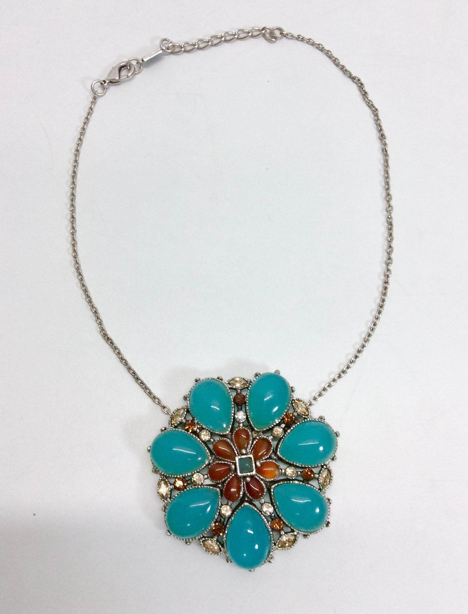 French floral design with turquoise stones and crystal detail silver plated necklace