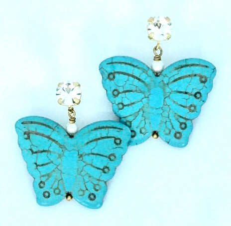 Turquoise Butterfly shape with pearl and crystal stud earrings