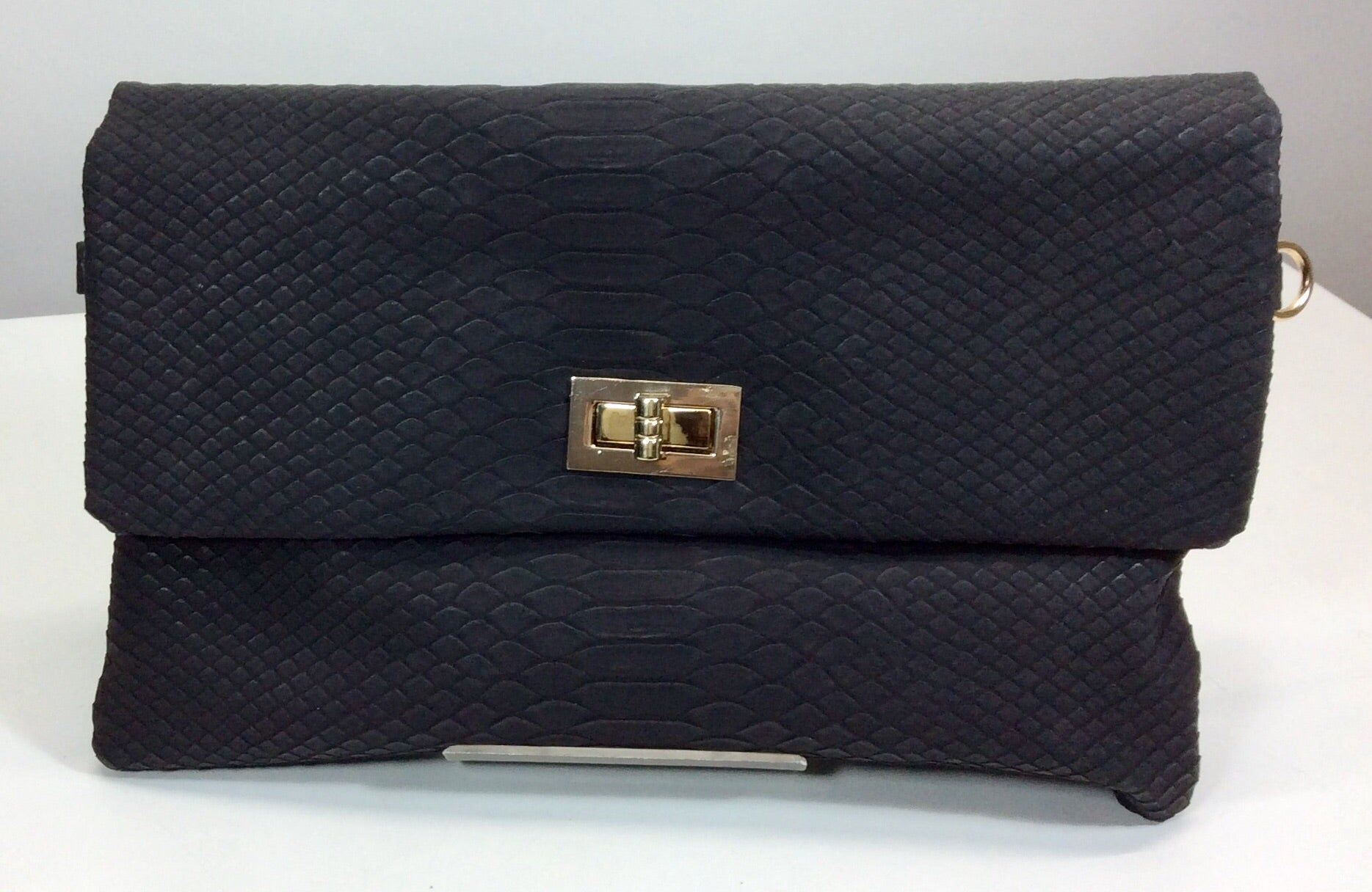 Black embossed snakeskin clutch with matching strap