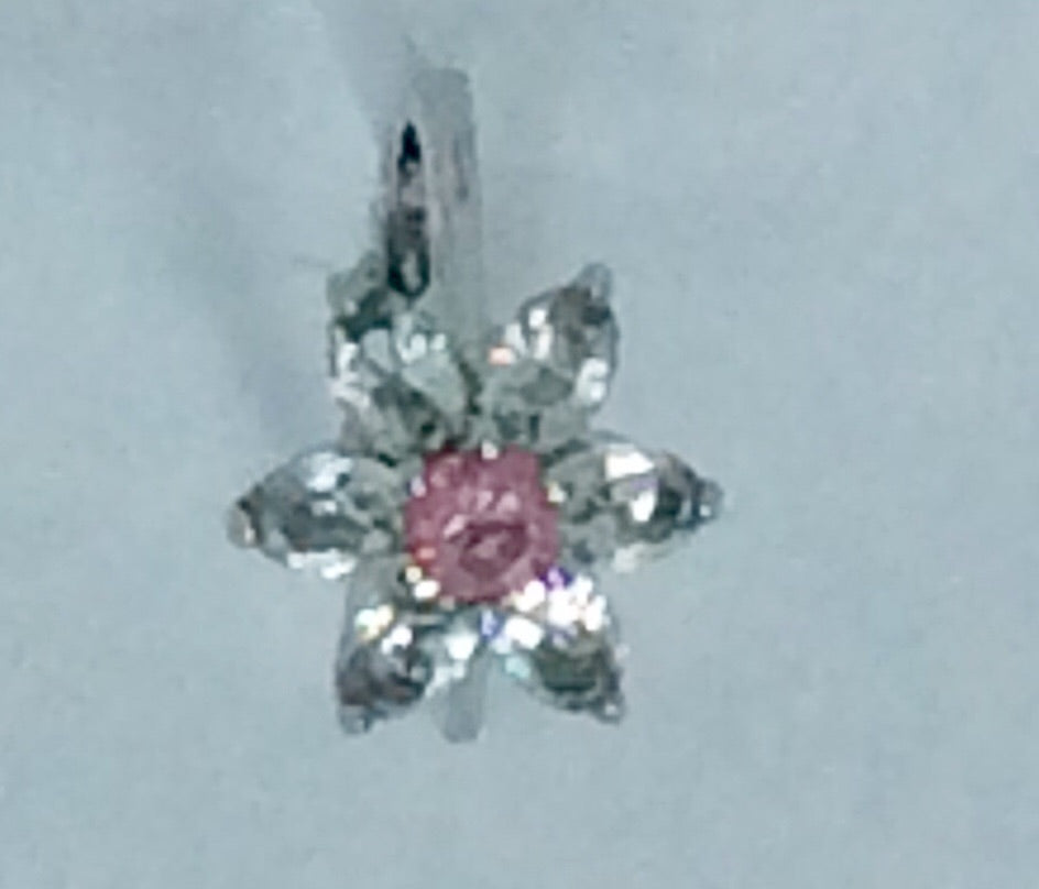 Silver band flower shape small pink stone with clear crystals surround