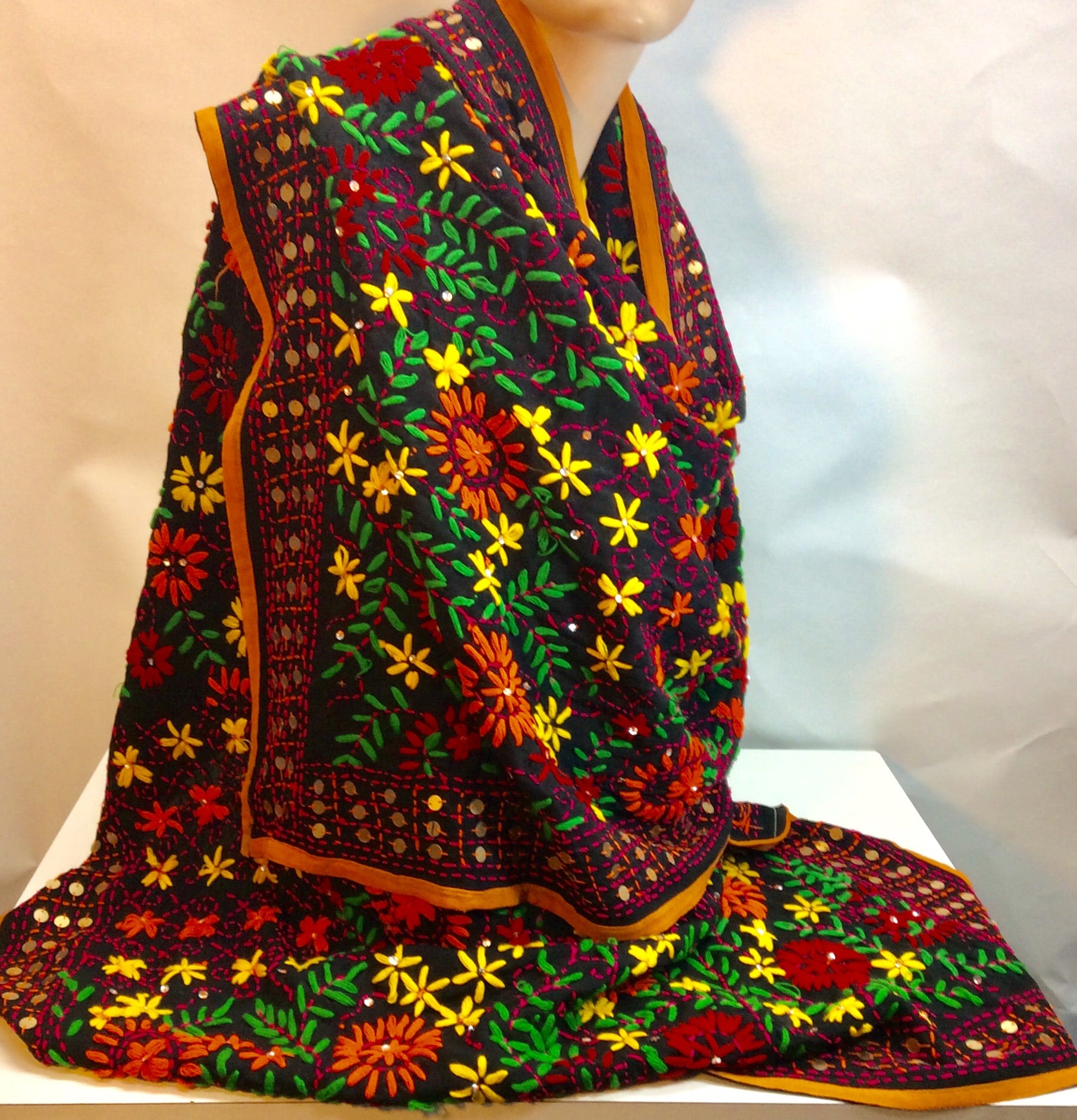 Black embroidered silk wrap scarf