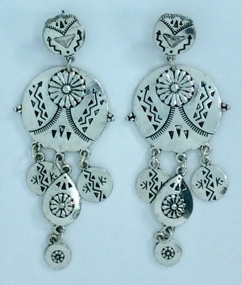 Embossed silver drop earrings