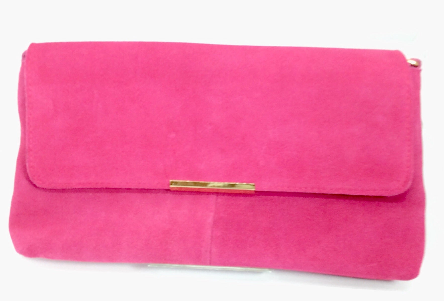 Hot pink suede clutch bag with gold and pink chain