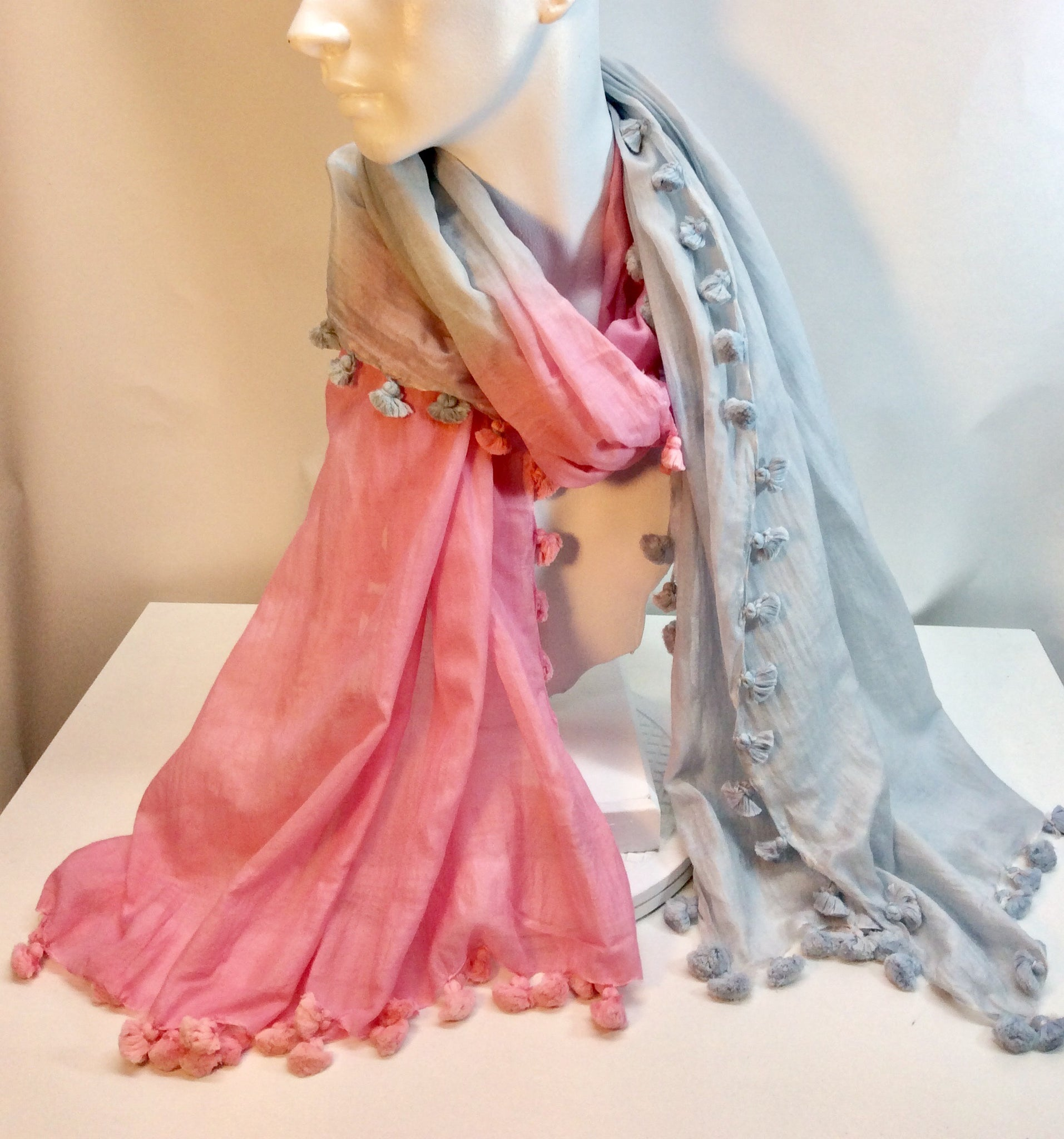 Pink and pale blue cotton scarf with tassels