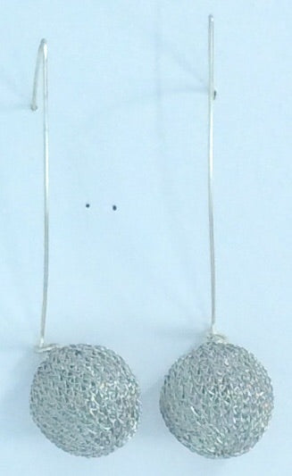 Silver mesh ball drop earrings