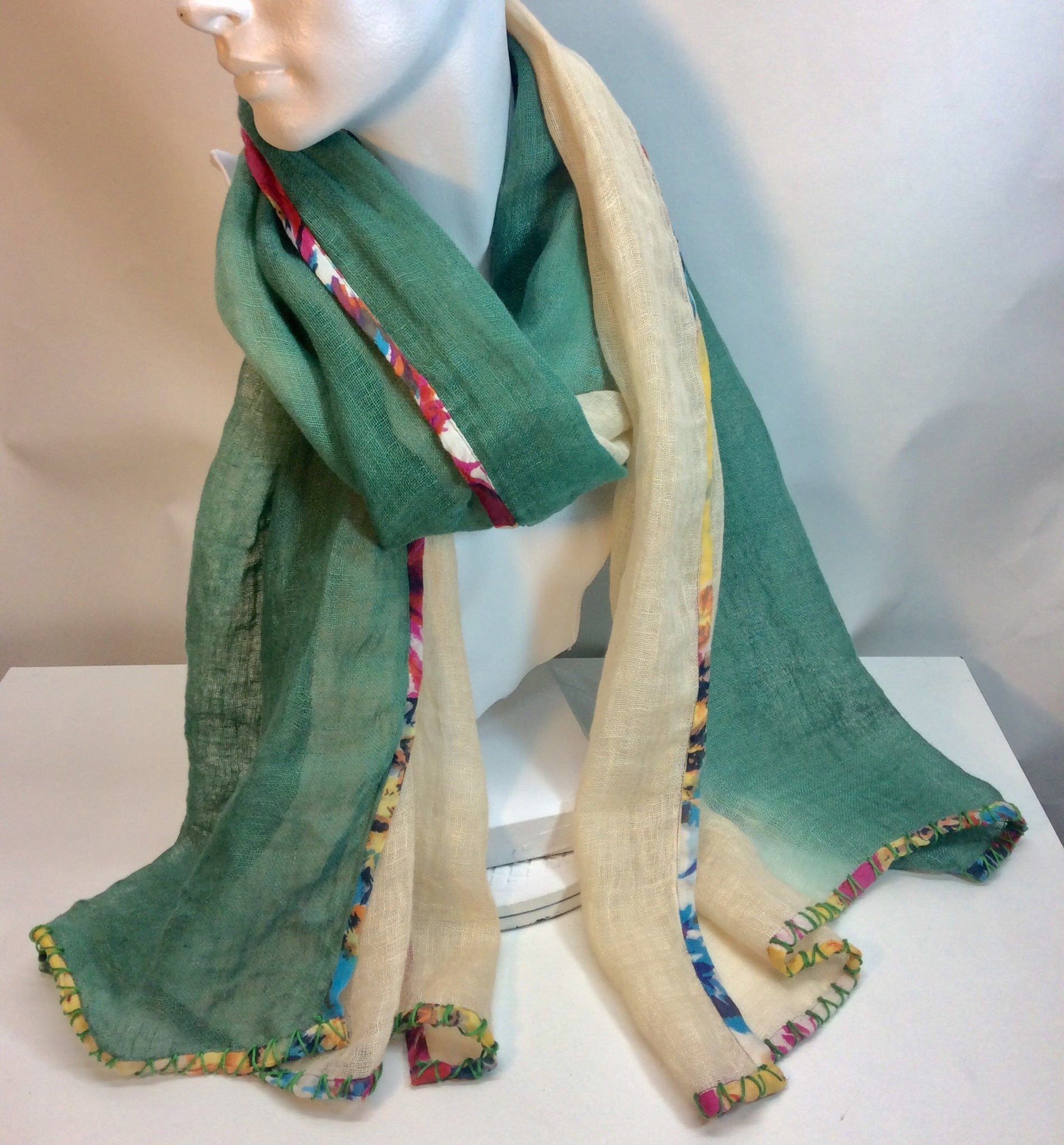 Green and cream linen scarf with fabric border