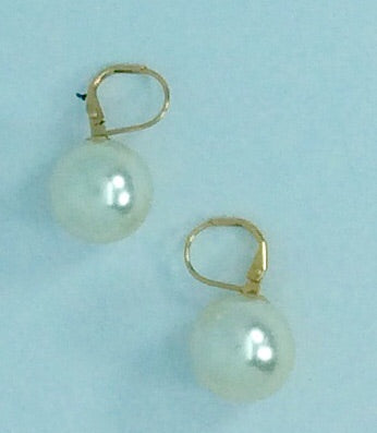 French Ball shell base pearl earrings gold french hook