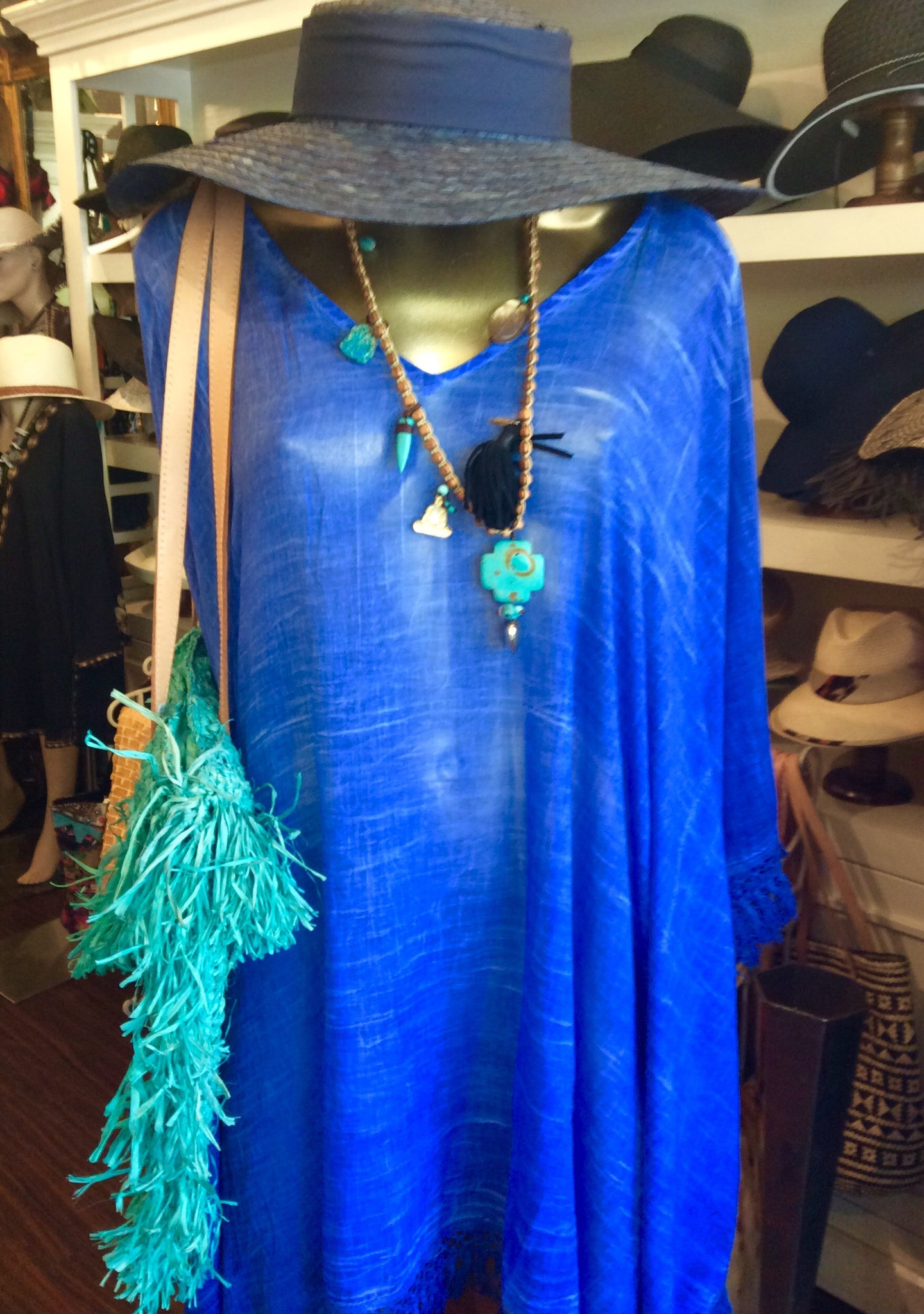 Cobalt blue cotton kaftan coverup with fringe