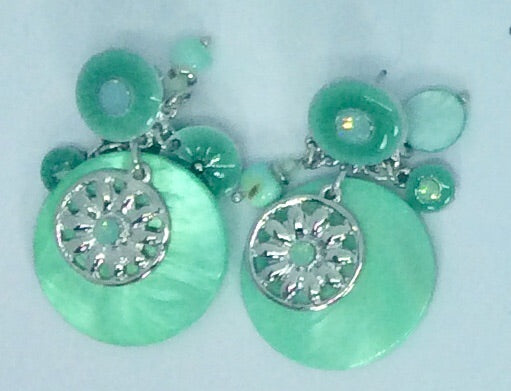 Circular mint green multi drop earrings