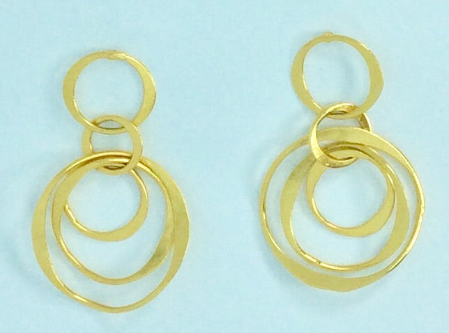 Dutch gold plated entwined circles earrings
