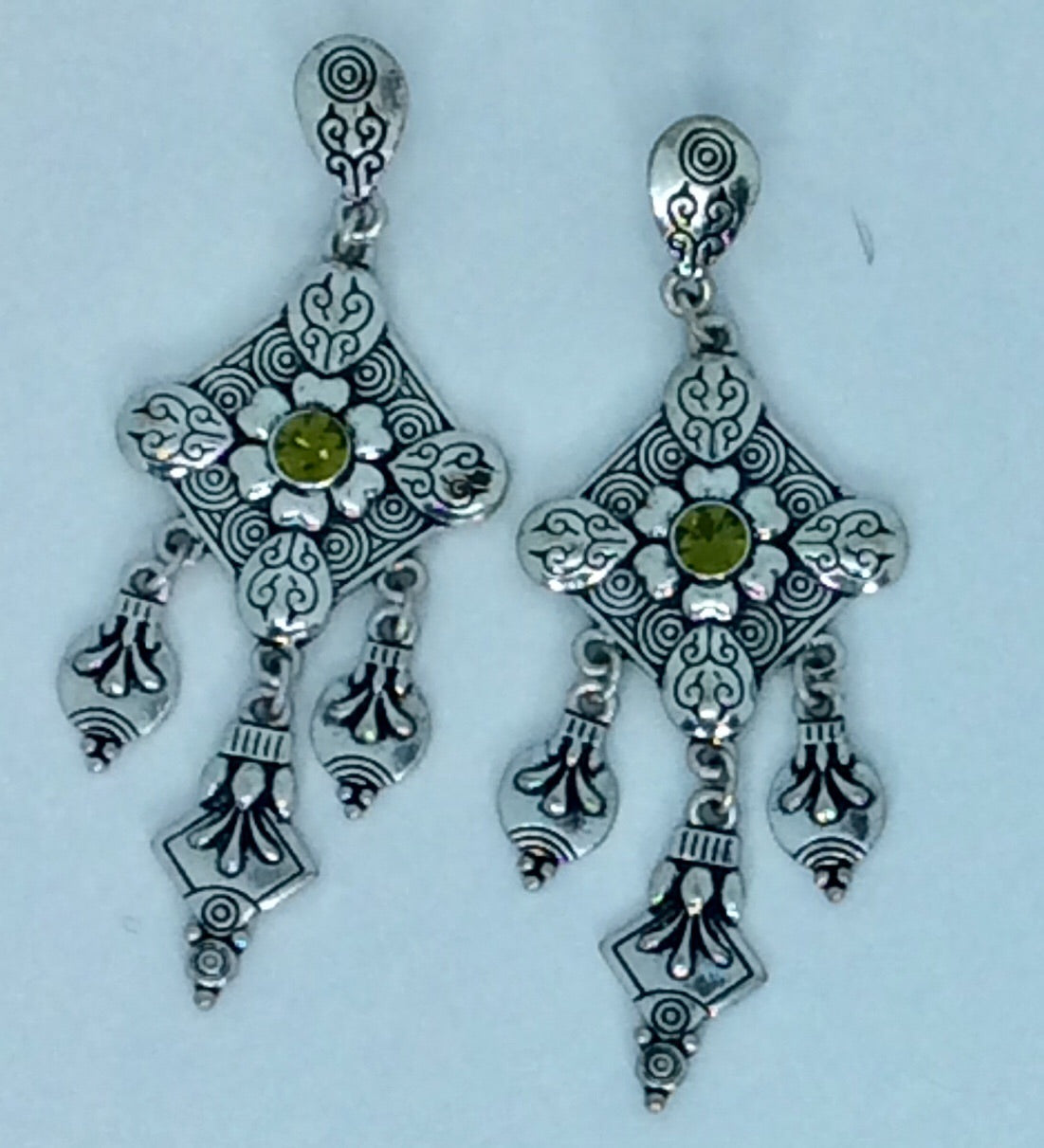 Silver with green stone centre earrings