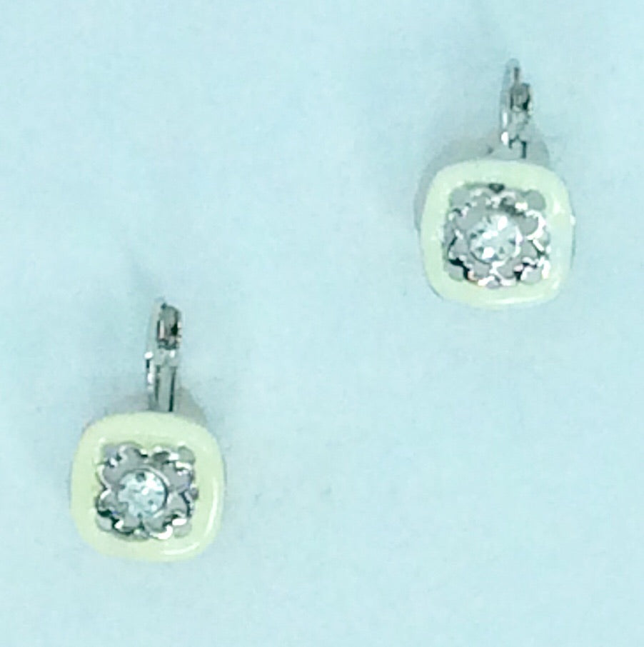 French Enamel square with silver & crystal centre earrings