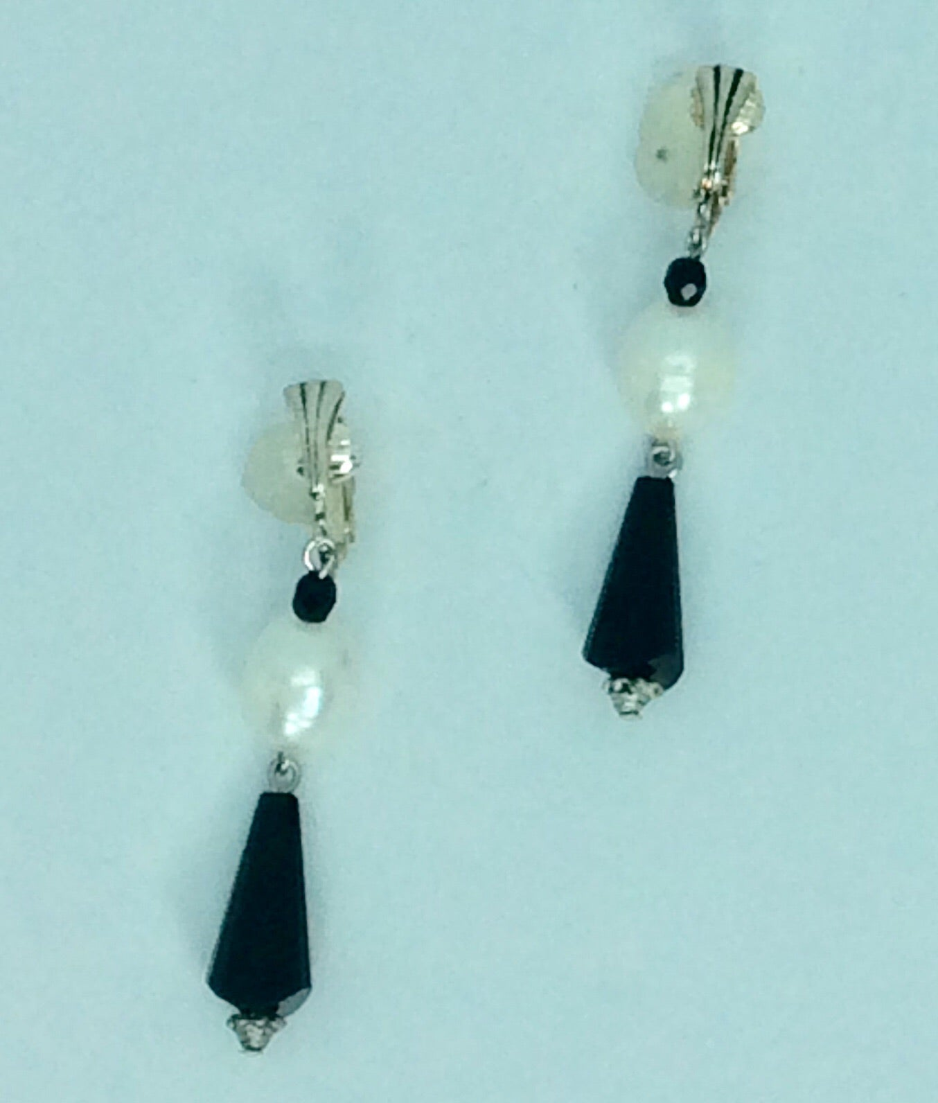 Silver Clip on jet and pearl drop earrings